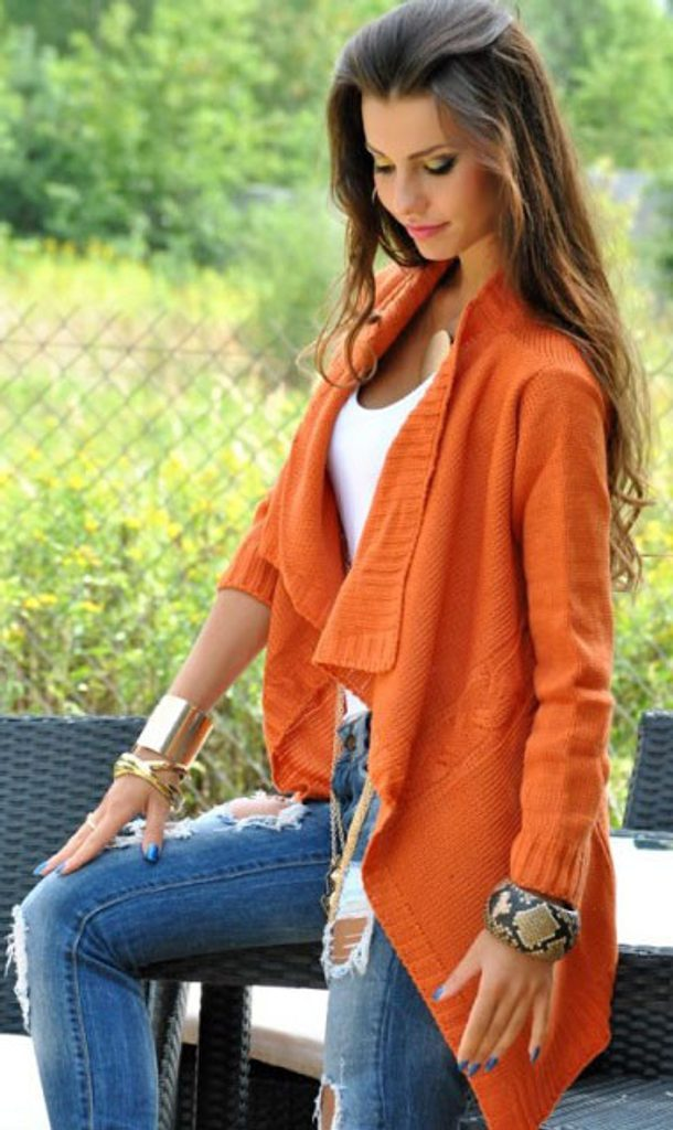 Dámský pletený kardigan - UNI (S-XL)  Orange