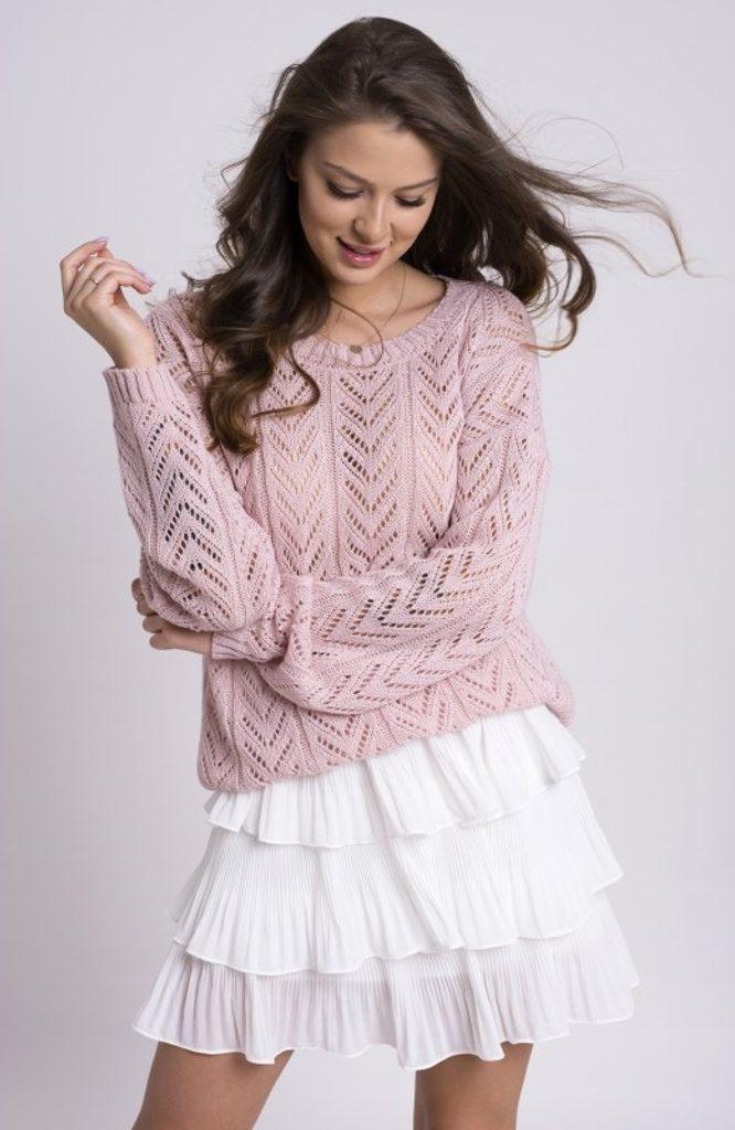 Dámský svetřík se vzorem - UNI (S-L)  Pink