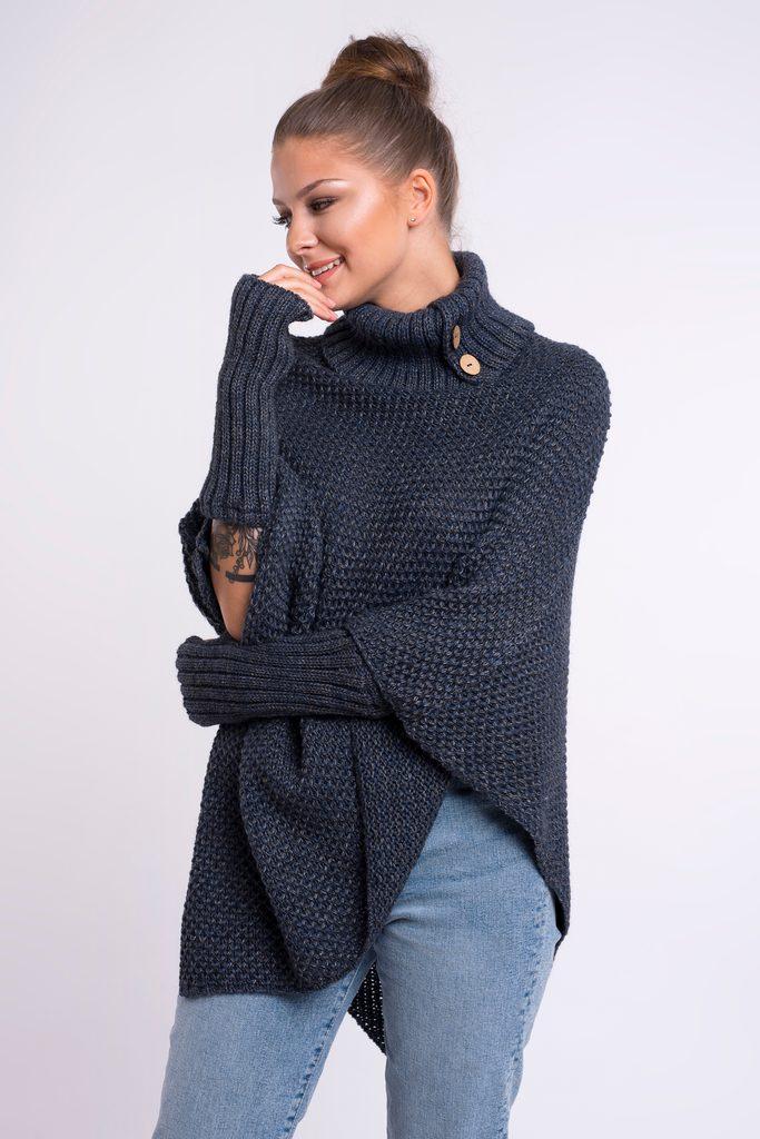 Luxusní pletené pončo s návleky - UNI (S-L)  Melange granat