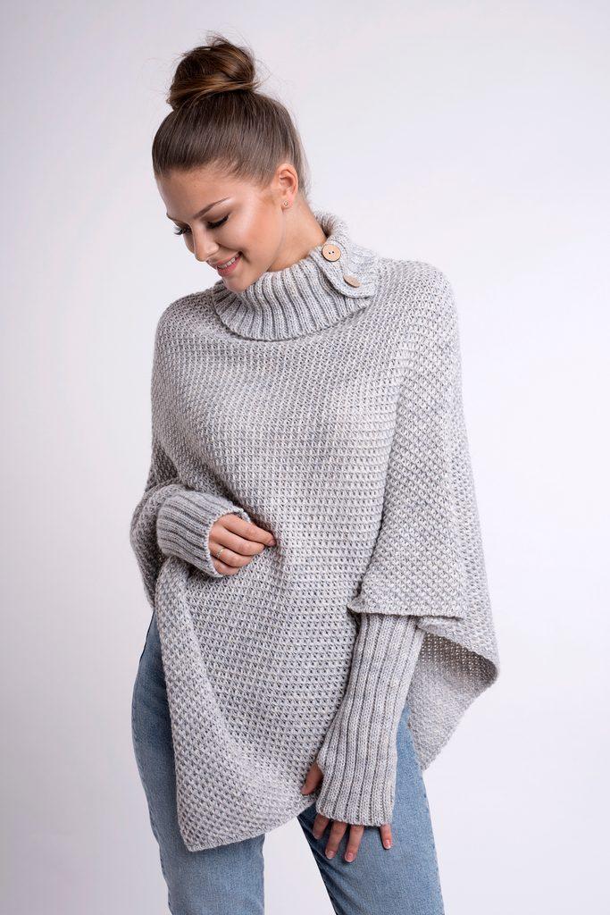 Luxusní pletené pončo s návleky - UNI (S-L)  Grey