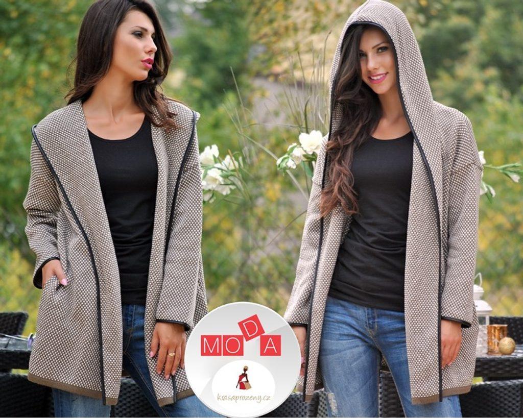 Mikina v kradigan stylu s kapucí - UNI (S-XL)  Mocca