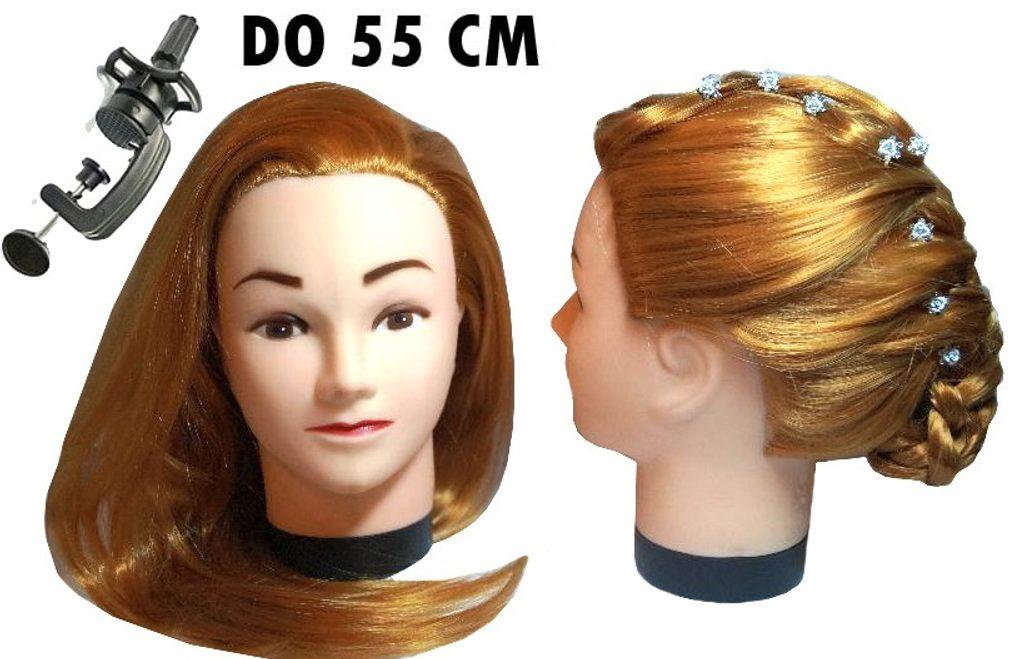 Cvičná, česací hlava Kate k prodlužování vlasů, střihy, účesy + stojan ZDARMA! II. Jakost