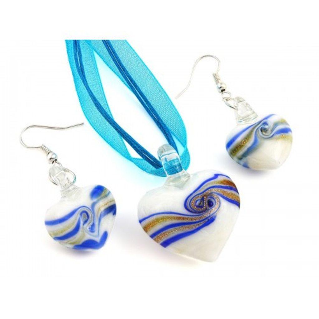 Sada šperků z Benátského skla Vzor 48 - blue