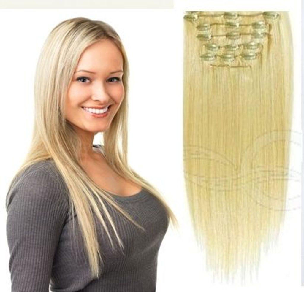 CLIP-IN- 100% Lidské vlasy k prodloužení REMY, přírodní Blond 40cm