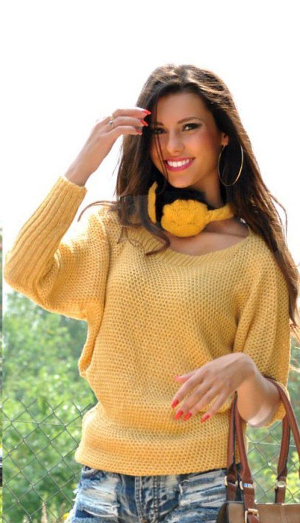 Dámský svetr s netopýřím střihem - UNI (S-L)  Yellow