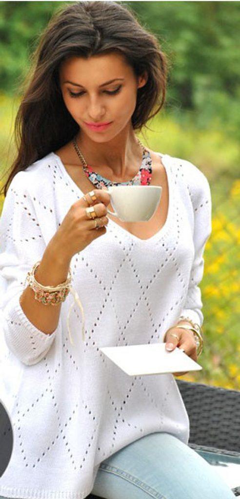 Dámský dírkovaný svetr - UNI (S-L)  White