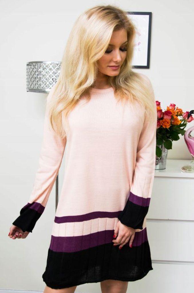 Jedinečné pletené šaty - UNI (S-L)  Pink