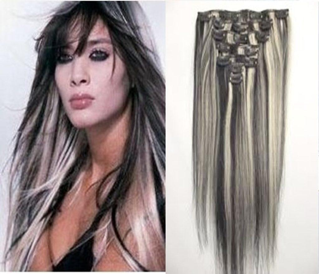 CLIP-IN- 100% Lidské vlasy k prodloužení REMY, melír 1B/613 40cm II. jakost