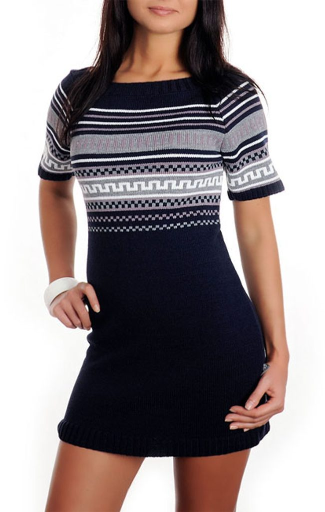 Dámské pletené šaty - UNI (S-L)  Granat