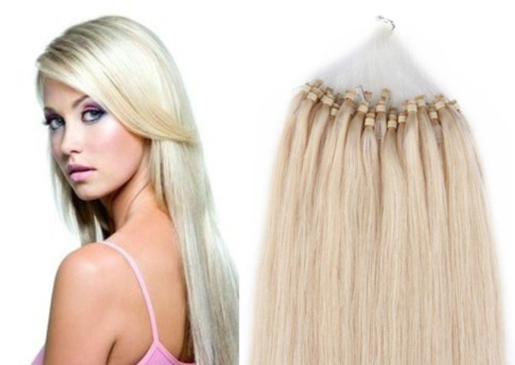 MICRO LOOP/ MICRO RING- 100% Lidské vlasy k prodloužení REMY, platinová Blond 55cm