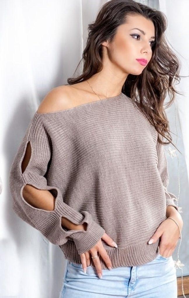 Dámský módní sexy svetřík s prostřihy - UNI (S-L)  Mocca