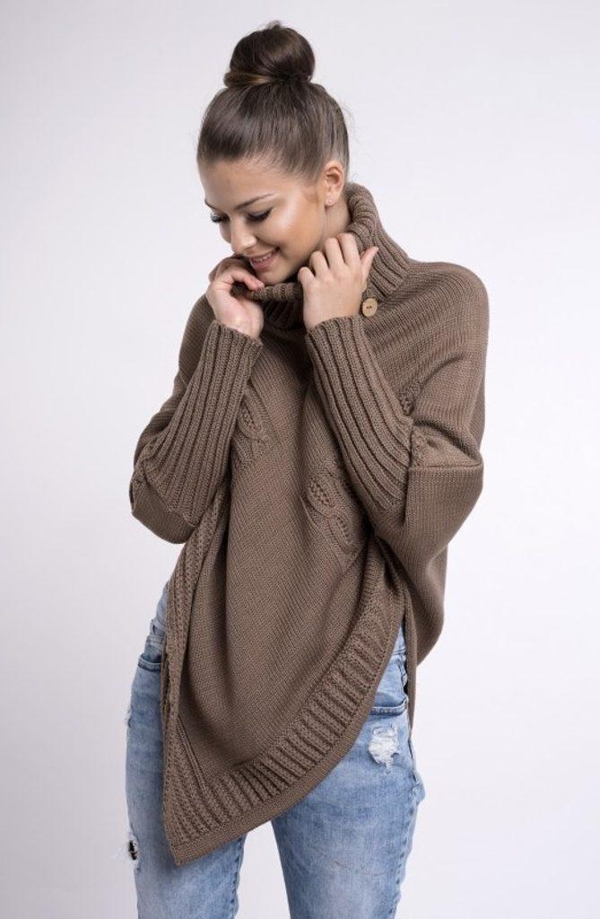 Dokonalé pletené pončo - mocca - UNI (S-L)