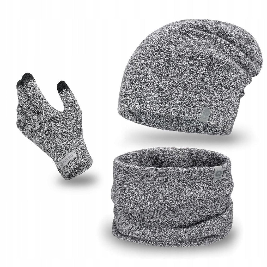 Luxusní pánská sada - beanie čepice, tunel, rukavice - light grey