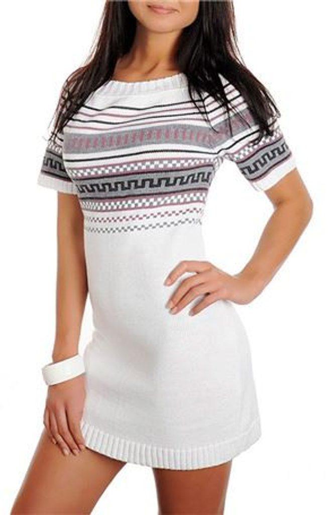 Dámské pletené šaty - UNI (S-L)  White