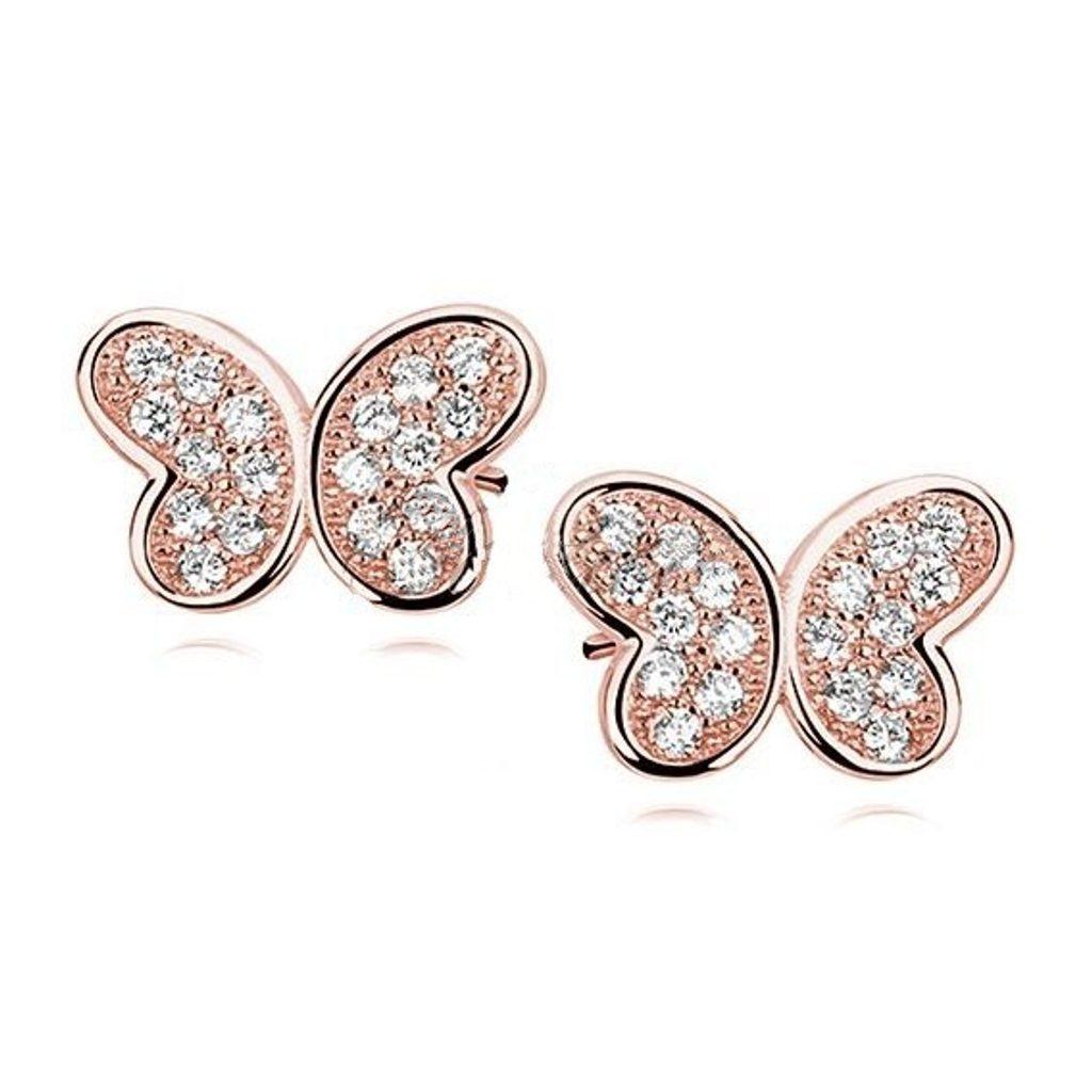 Růžové náušnice Motýlci