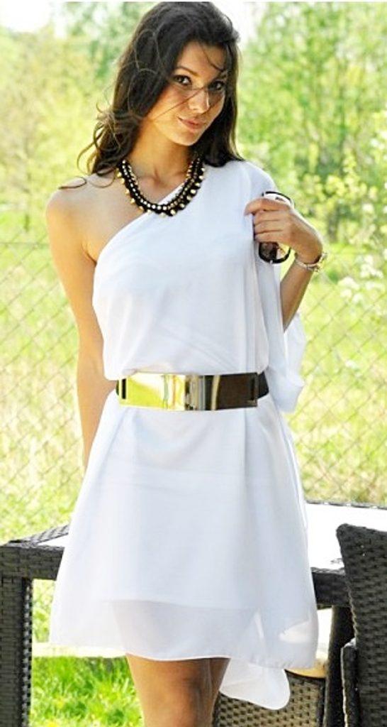 Dámské šifónové šaty - UNI (S-XL)  White