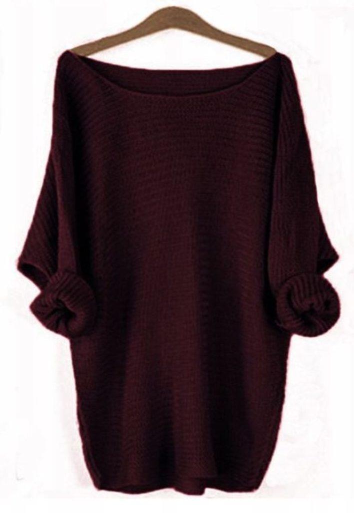 Dámský pletený svetřík - UNI (S-L)  Bordó