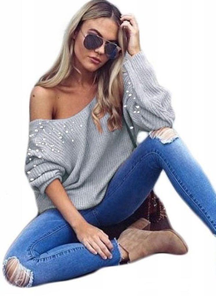 Luxusní svetr s perličkami - UNI (S-L)