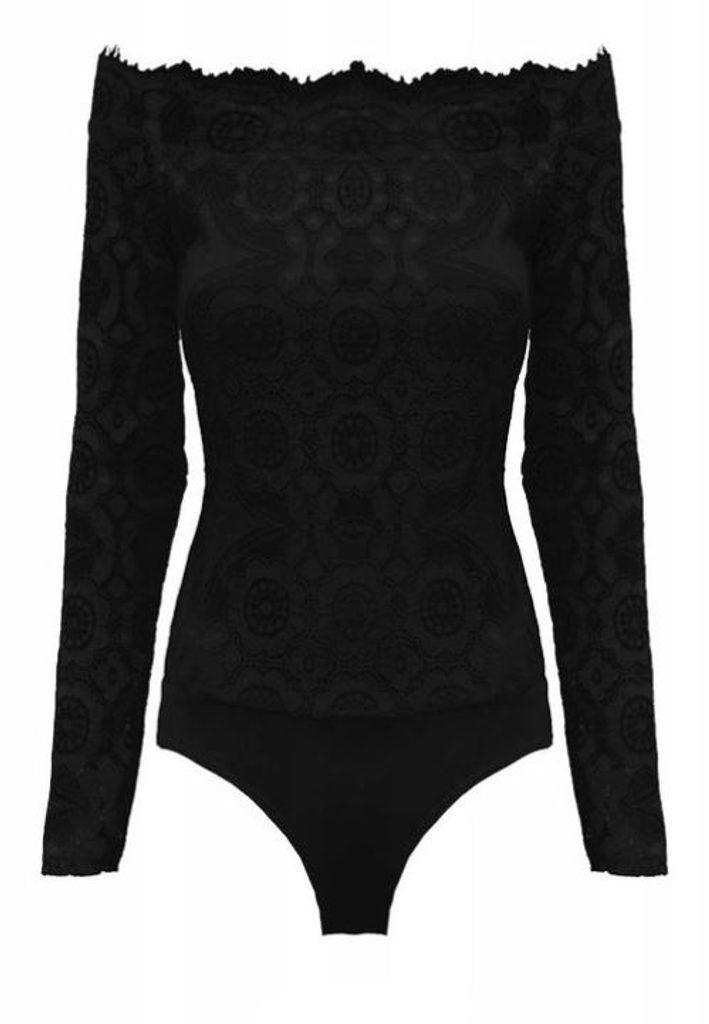 Luxusní krajkové body - UNI (S-L)  Black
