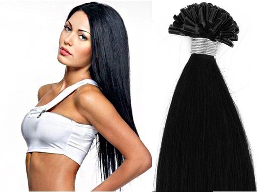 KERATIN- 100% Lidské vlasy k prodloužení REMY, černé 46,55,60cm - 60cm