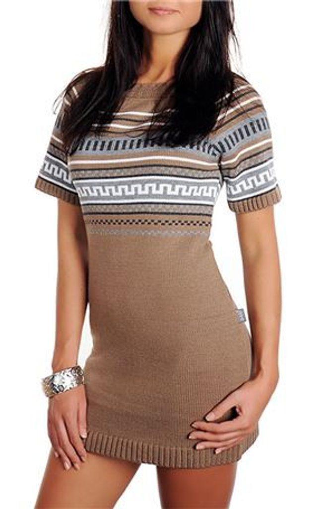 Dámské pletené šaty - UNI (S-L)  Brown