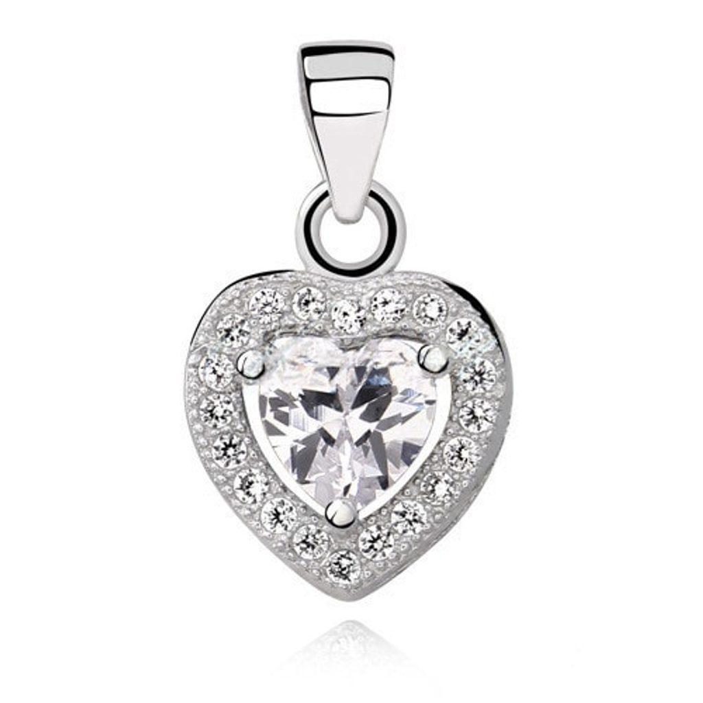 Stříbrný přívěsek Heart - white
