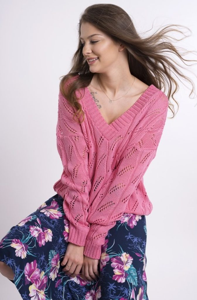 Dámský svetřík se vzorkem - UNI (S-L)  Pink