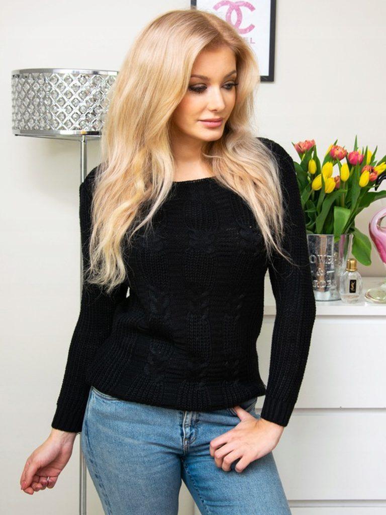 Dámský svetřík s originálním vzorem - UNI (S-L)  Black