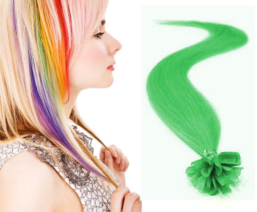 100% Lidské vlasy Remy k prodloužení nebo promelírování, odstín tmavě zelená