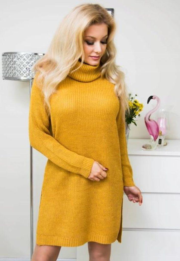 Dámské hřejivé šaty s rolákem - více barev - mustard