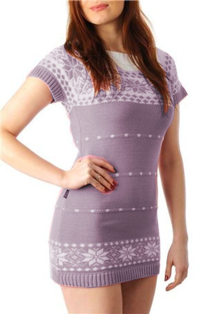 Dámské pletené šaty s norským vzorem - UNI (S-L)  Purple
