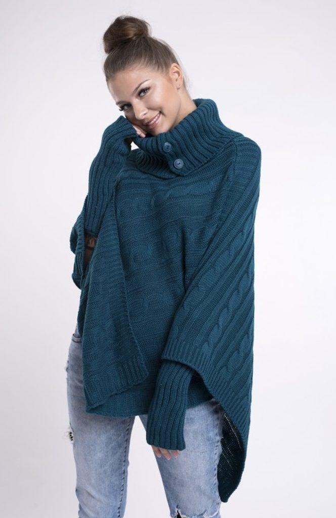 Dámské pletené pončo se sundávajicími rukavicemi - UNI (S-L)  Sea