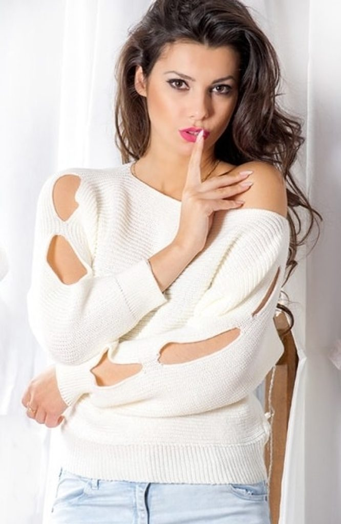Dámský módní sexy svetřík s prostřihy - UNI (S-L)  Ecru