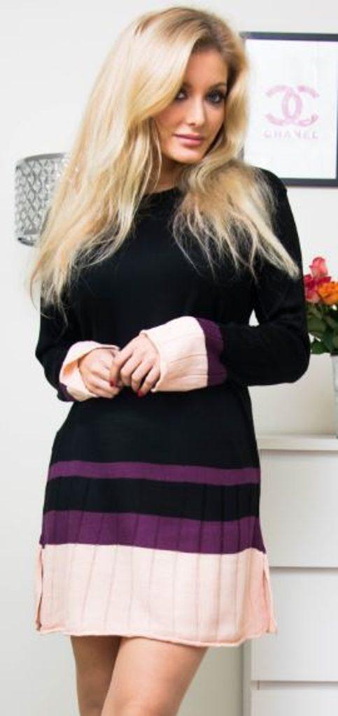 Jedinečné pletené šaty - UNI (S-L)  Black