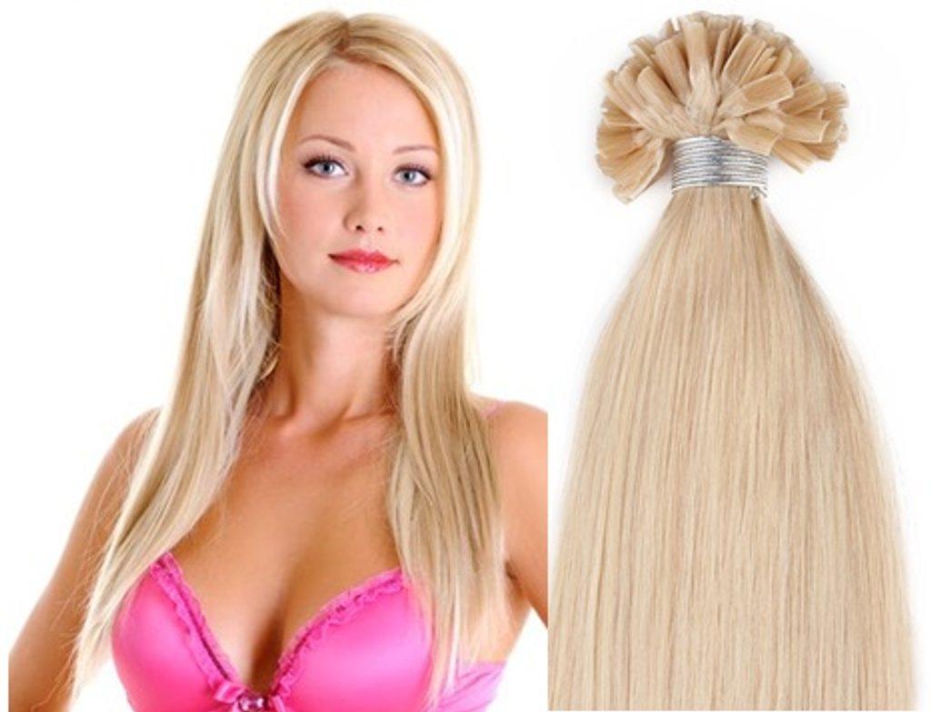 KERATIN- 100% Lidské vlasy k prodloužení REMY,  přírodní Blond 46,55,60cm - 60cm