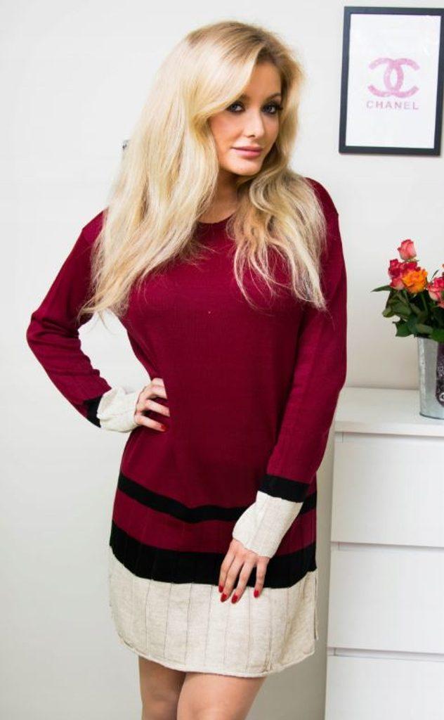 Jedinečné pletené šaty - burgundy - S/M