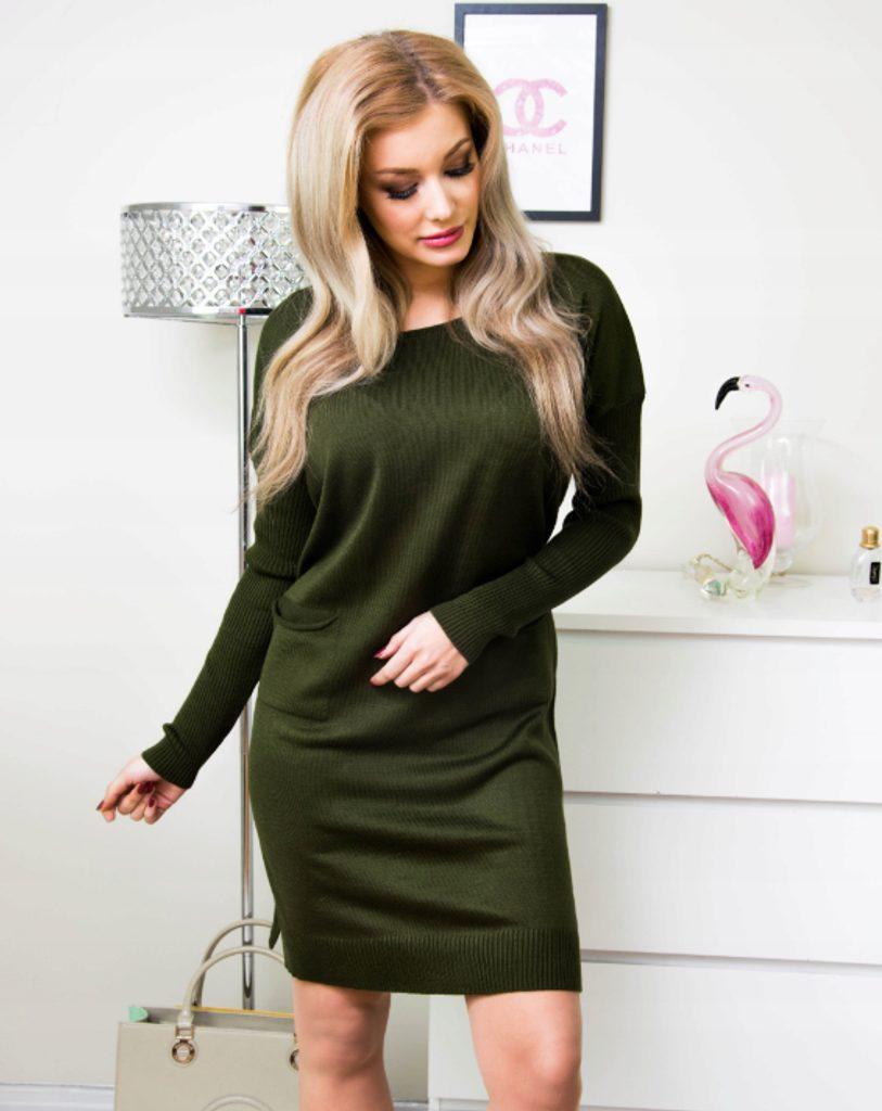 Dokonalé dámské šaty s kapsami - khaki - XXXL/4XL