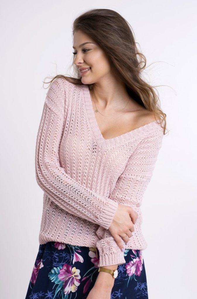 Dámský žíhaný svetřík - UNI (S-L)  Pink