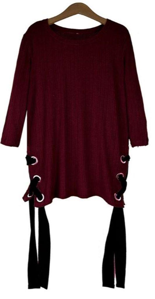 Exkluzivní svetr se šněrováním - UNI (S-L)  Bordó