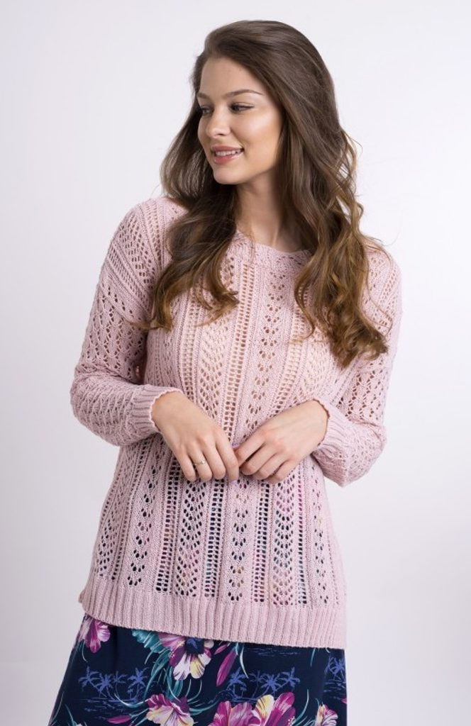 Dámský vzorovaný svetřík - UNI (S-L)  Pink