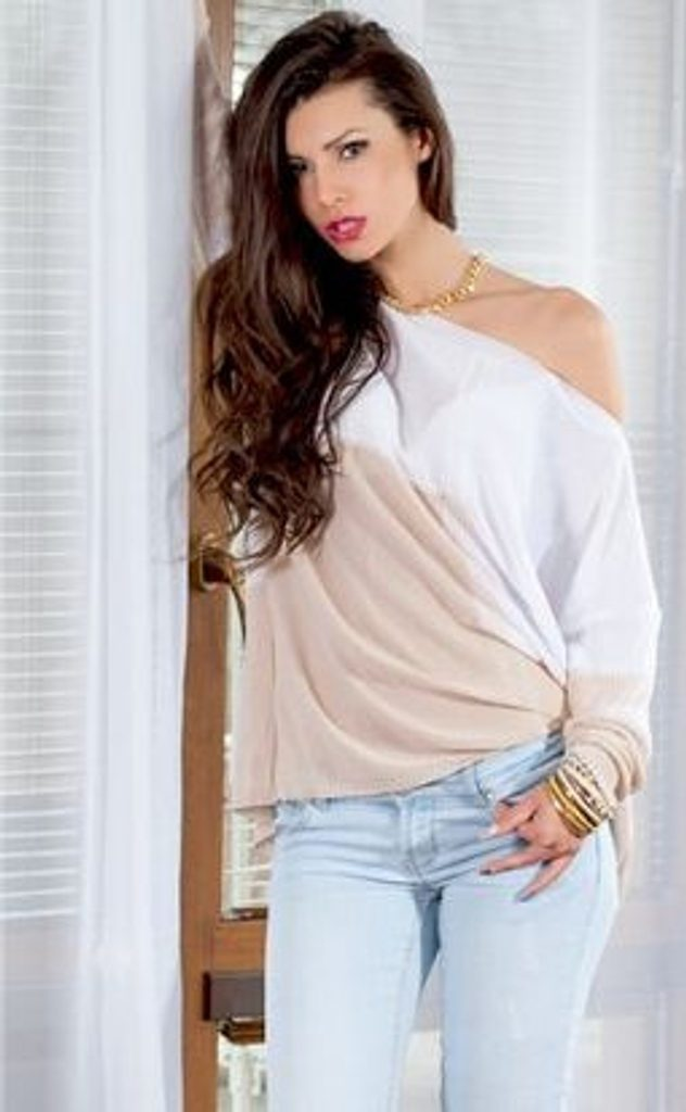 Dámský oversize svetřík - UNI (S-L)  Beige