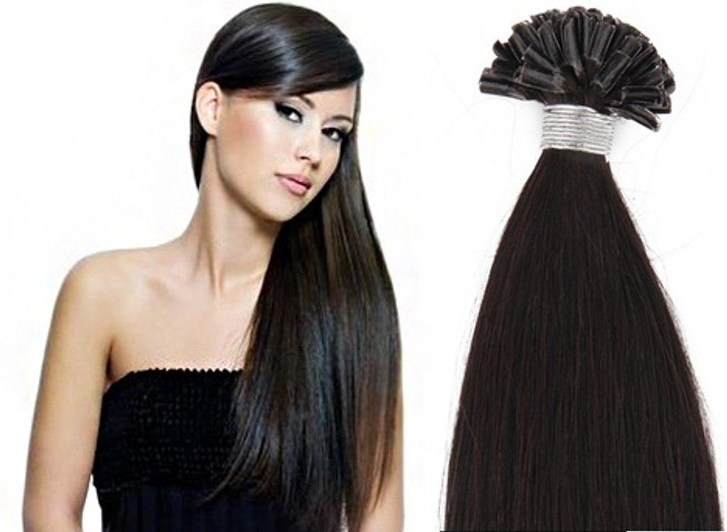 KERATIN- 100% Lidské vlasy k prodloužení REMY, černo-hnědé 46,55,60cm - 60cm