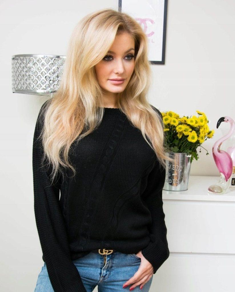 Moderní svetr s copánkovým vzorem - UNI (S-L)  Black