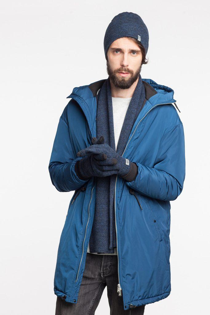 Luxusní pánský set - čepice, šála, rukavice - blue