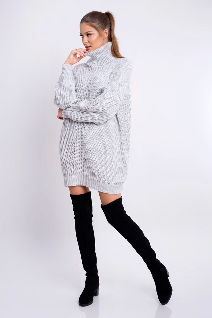 Dámské pletené šaty s rolákem - grey - UNI (S-L)
