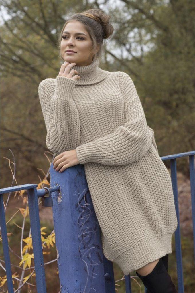 Dámské rolákové šaty - UNI (S-L)  Beige