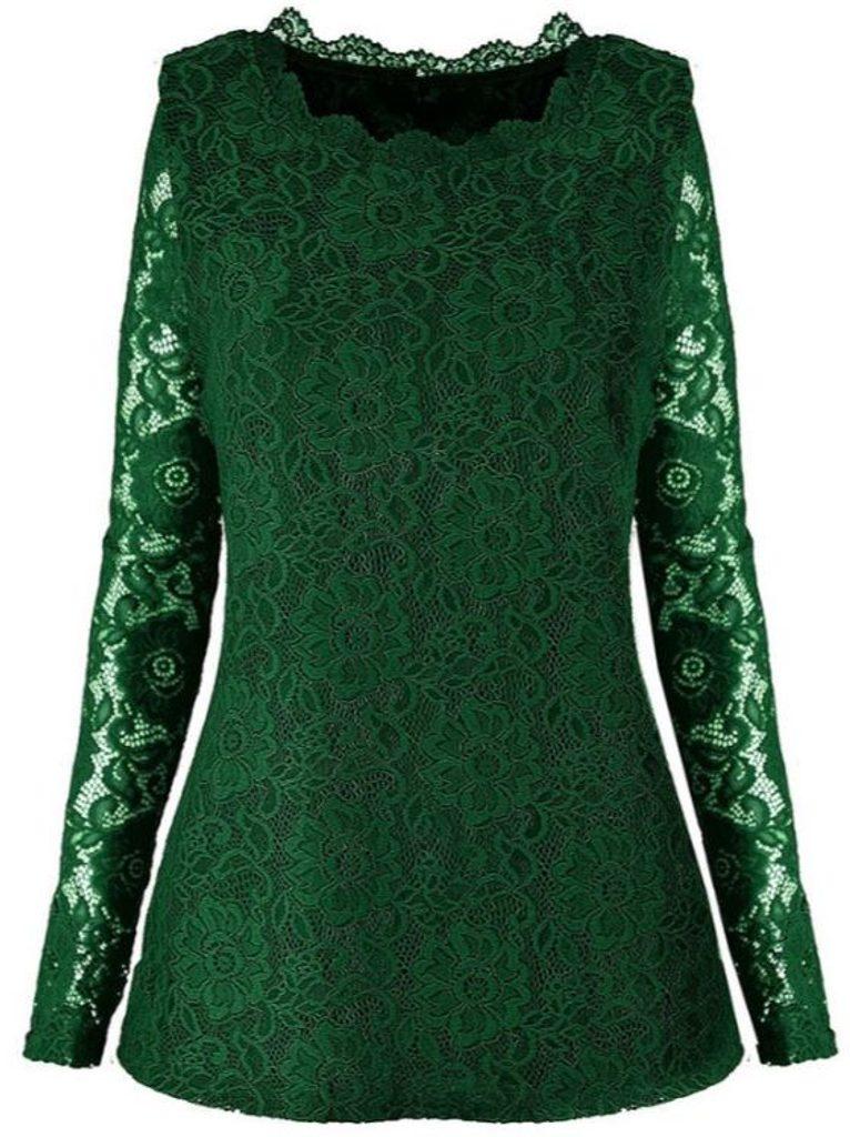 Elegantní krajková halenka - UNI (S-L)  Green
