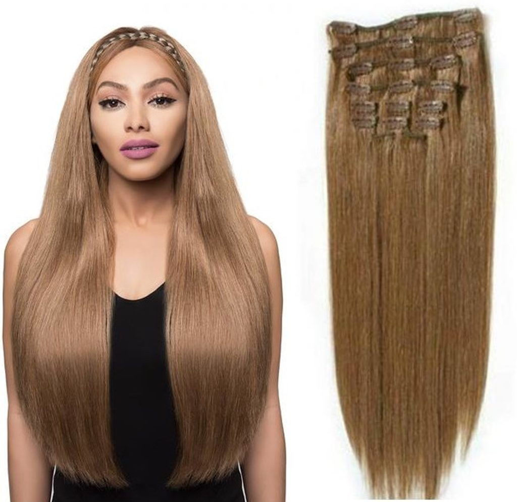CLIP IN vlasy - 100% Lidské vlasy k prodloužení REMY, světle hnědá - extra dlouhé 60cm