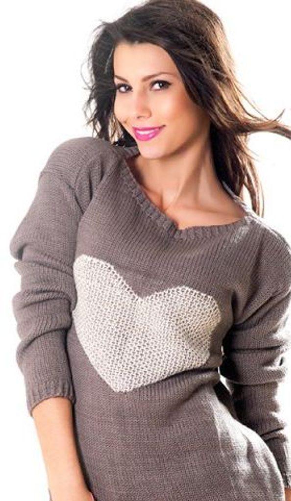 Dámský pulovr se srdíčkem - UNI (S-L)  Mocca