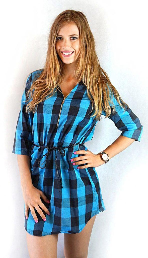 Dámské košilové šaty se vzorem - UNI (S-L)  Blue